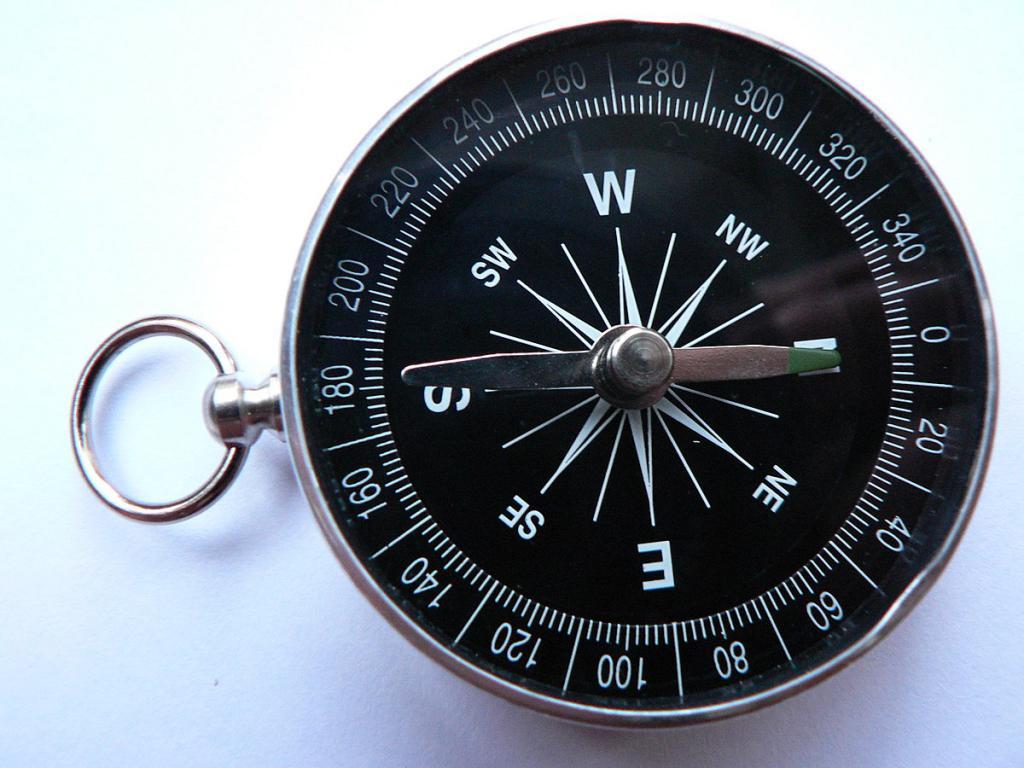 Куда указывает зеленая стрелка компаса
