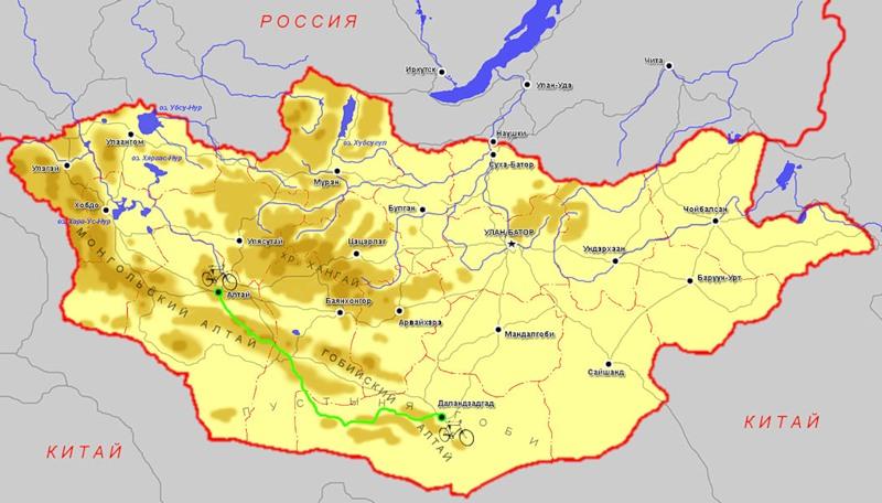 Карта пустыни Гоби